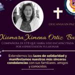 Condolencias a la familia de nuestra compañera XIOMARA XIMENA ORTÍZ y  acciones gestadas desde la organización sindical para protección de sus derechos